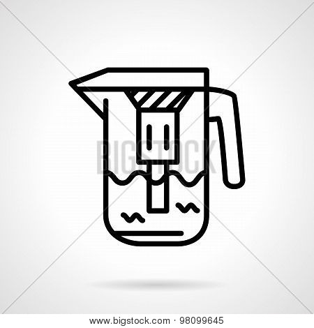 Water filtration pitcher line vector icon