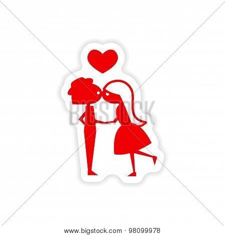 icon sticker realistic design on paper Girl kisses boy