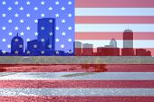 image of prudential center  - boston skyline and charles river and american flag montage - JPG