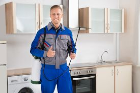 stock photo of pest control  - Young Happy Pest Control Worker With Insecticide Sprayer In Kitchen Room - JPG