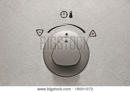 Brushed aluminium oven knob