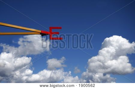 East - Direction Letter Against A Blue Sky