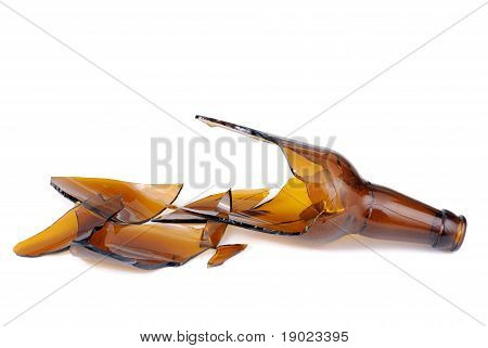 Shattered Brown Beer Bottle Isolated On The White Background
