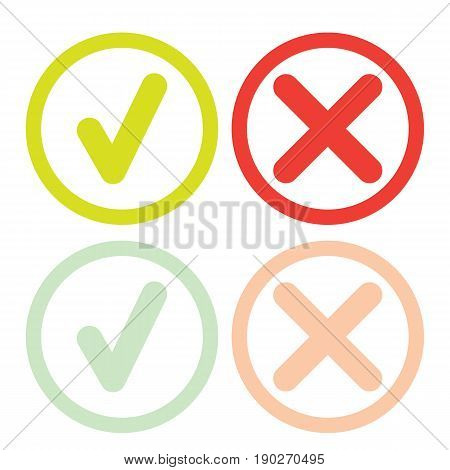 line green check mark or check box icons set . Green tick and red cross check marks flat style line icons set isolated on white background