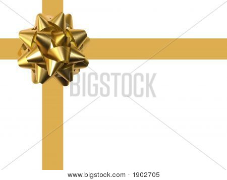 Decoration Gold Bow Over White