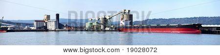 Cargo Ship & The Port Of Longview Wa.