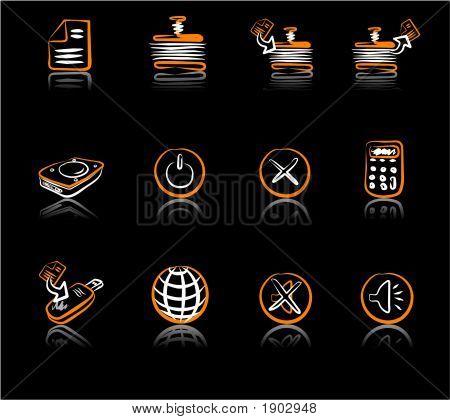 Computer & Data 2 White & Orange Black.Eps