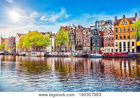 Amsterdam Netherlands dancing houses over
