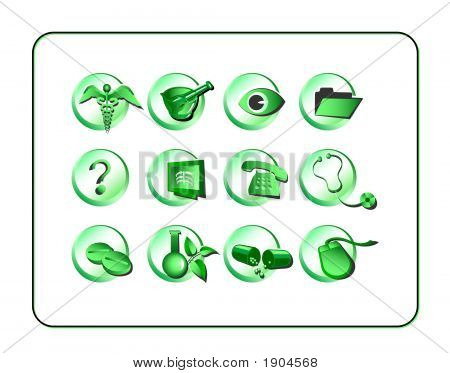 Medical & Pharmacy Icon Set, Green