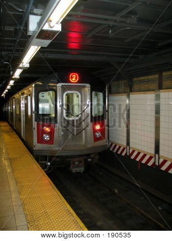 New York City Subway Train Entering Station
