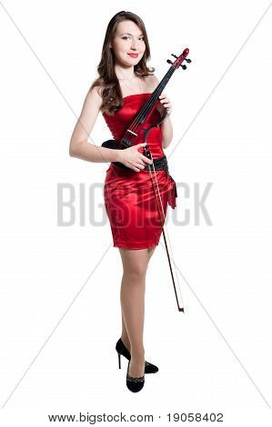Violinist Girl In Red Dress