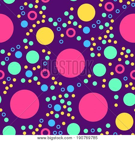 Abstract Seamless Pattern With Circles On Violet Dark. Geometry Pattern For Fabric. Textile Backgrou