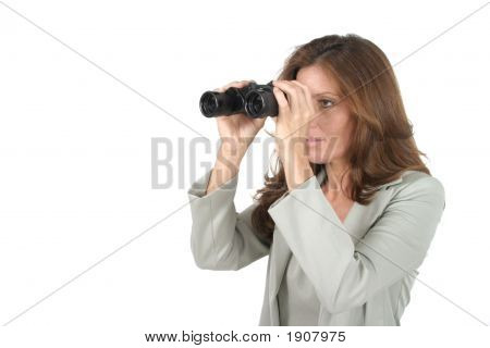 Beautiful Woman Looking Through Binoculars 2