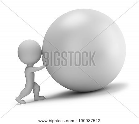 3d small person - pushes the ball. 3d image. White background.