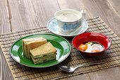 kaya jam toast with a cup of white coffee, singaporean malaysian breakfast poster