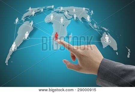 Business Hand Touch on Social Network Concept with World Map