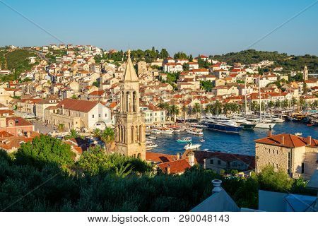 poster of Panoramic View Of Hvar Town In Croatia.