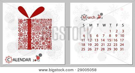 2012 calendar,March. All elements are layered separately in vector file. Easy editable.