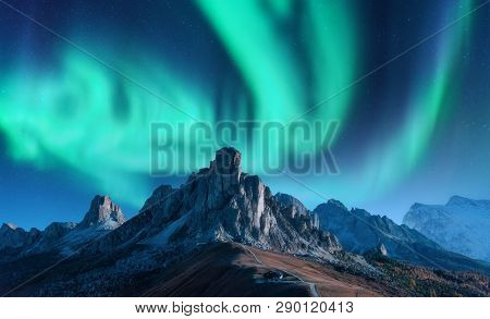 Aurora Borealis Above Mountains At
