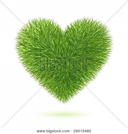 Grass heart symbol. Vector.