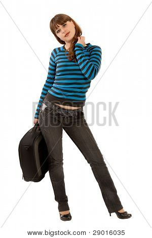 girl with a suitcase for travelings. isolaled on white