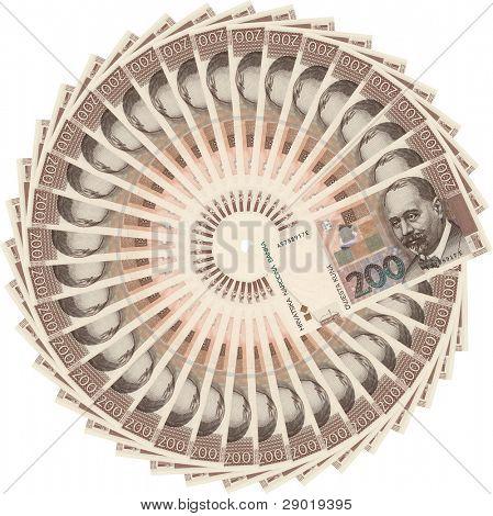 Croatian currency-200 kuna bills in circle