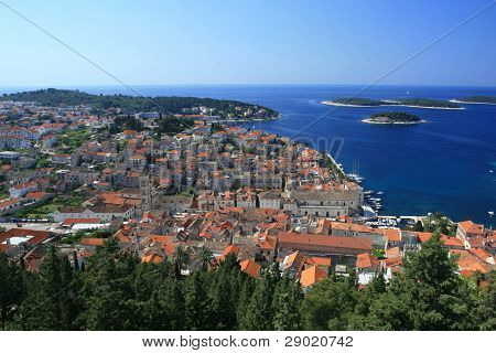 Aerial view of marina on island of Hvar, Croatia