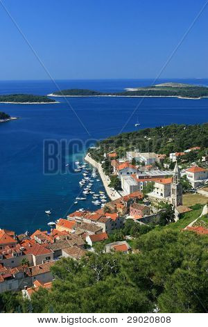 Aerial view of marina on island Hvar, Croatia (vertical)