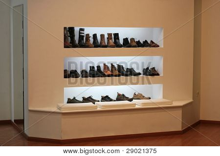 SALE in the Shoe shop- leather shoes, on display in a department store