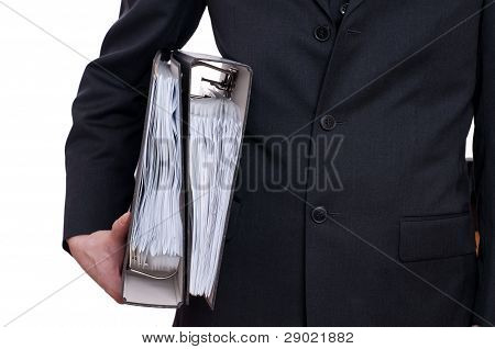 Man In Suit Is Carrying Two Files