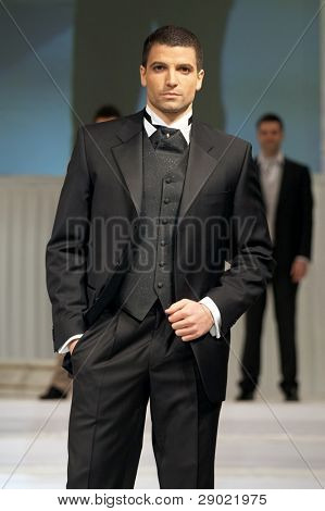 Groom's wedding suit on a young model