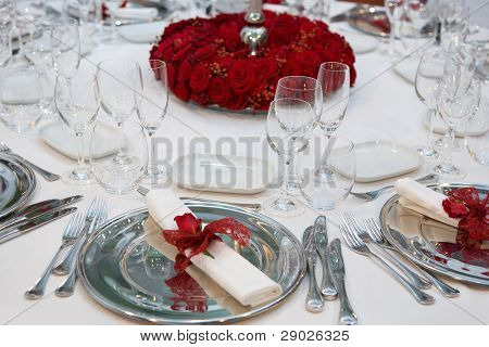 Romantic wedding dinner