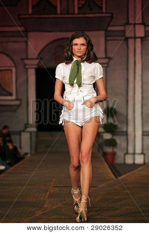 ZAGREB - NOVEMBER 08: Fashion model wearing design of NU-NU COMP (Dusseldorf) on 'Fashion Week Zagreb', November 27, 2008 Zagreb, Croatia.