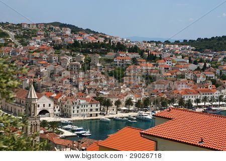 Aerial view of marina on island Hvar, Croatia