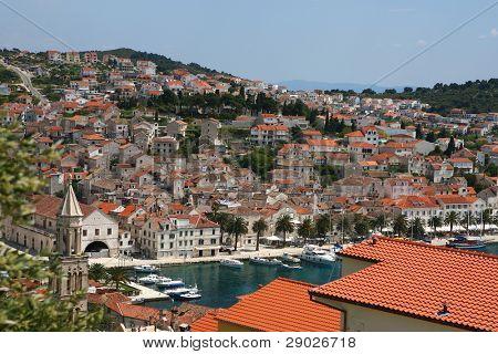 Aerial view of marina on island Hvar, Croatia