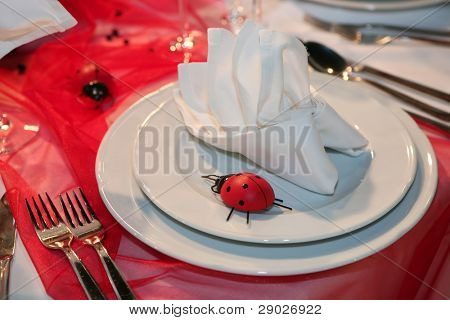 Elegant table set for a wedding dinner or a valentine's day