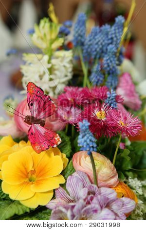 Spring flower bouquet with pink butterfly