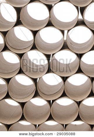 Used cardboard toilet paper rolls.