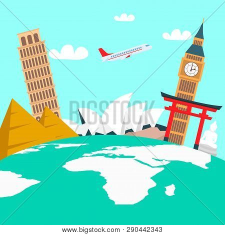 World Tour Vacation Color Vector