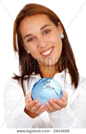 Business Woman - Globe Map