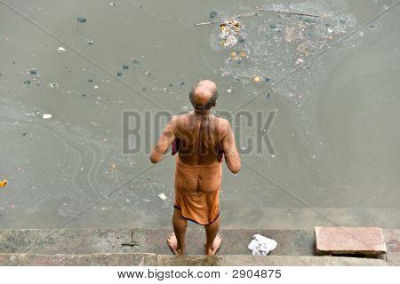 A Men Washing On The Ganges, Varanasi (Benares)