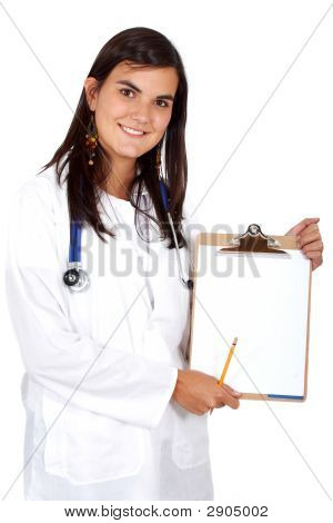 Doctor Displaying A Notepad