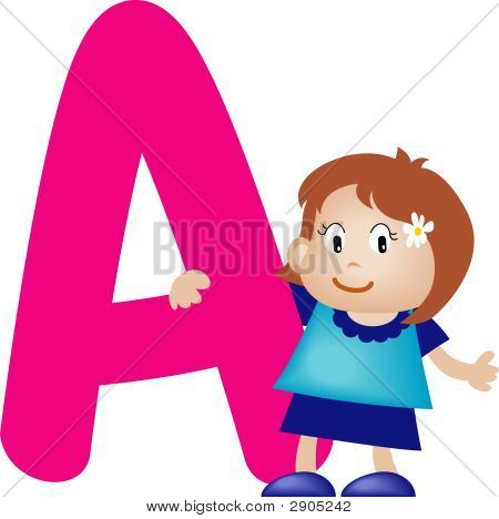 Girl With Alphabet Letter A