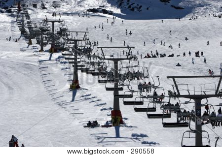Looking Up The Ski Slopes Of The Sierra Nevada Mountains In Spai