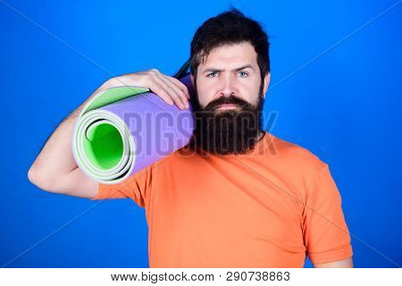 poster of Bearded Man Hipster With Fitness Mat. Sporty Man Training In Gym. Sport Mat Equipment. Athletic Regi