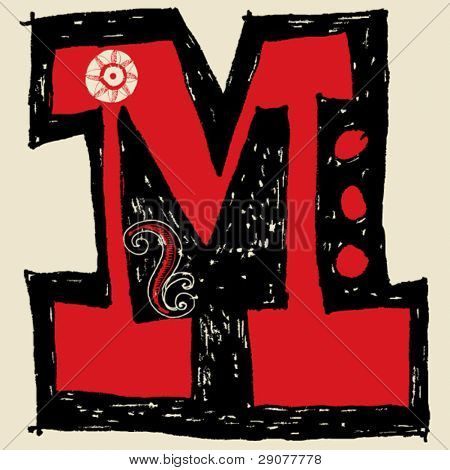 hand drawn alphabet, doodle M