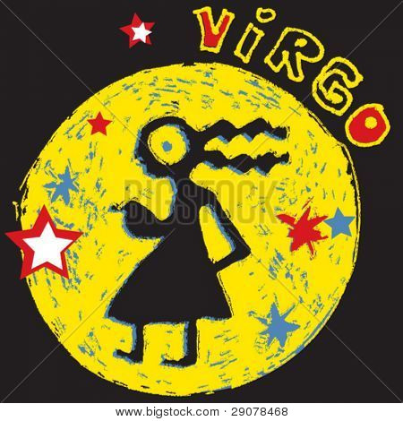 naive horoscope, hand drawn sign of the zodiac virgo