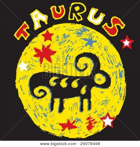 naive horoscope, hand drawn sign of the zodiac taurus