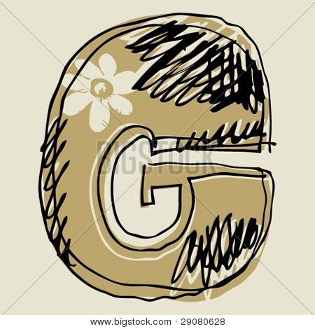 hand drawn alphabet, sketchy letter G