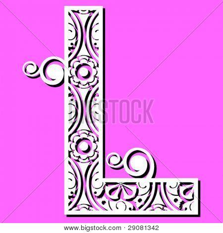 openwork alphabet, letter L